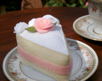Felt White Cake Slice with Pink Rose - Pretend Food Toy in Wool Blend Felt