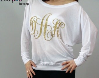 womens monogrammed shirts personalized womens shirts long sleeve wide neck sweatshirt glitter vinyl shirts  ladies custom shirt slouchy top