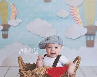 Photography Backdrop Hot Air Balloons, Newborn Photography Backdrop, Vinyl Photography Backdrop, Baby Photography Backdrop for Boys - SPG121