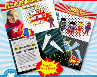 50% OFF SALE  Superhero Invitation / Spiderman Invitation for Supherhero Birthday Party / Superhero Invite - Digital Download File