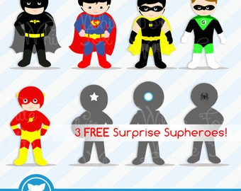 50% OFF SALE Super hero Clipart / 3 FREE Super hero / Personal and Commercial Use /  Superheroes Clip Art / Item Number: Superhero-B1A