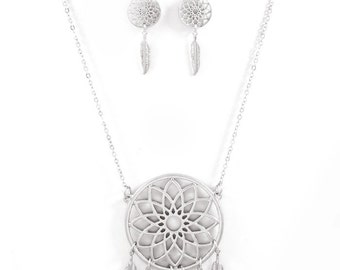 Silver Dream Catcher Necklace & Earring Set