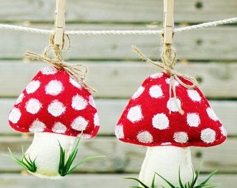 Set of 3pcs handmade felt Christmas mushroom ornament set , Wall Hanging.