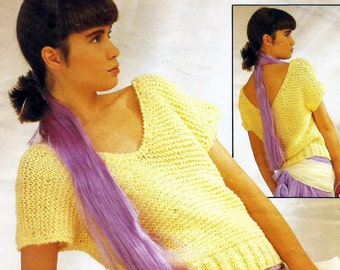 Instant Download - PDF- Vintage Easy Top Knitting Pattern 30 - 40 inch chest (K9)