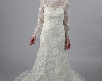 Long sleeves A line lace wedding dress, Royal/Classic Style long sleeves bridal gown, See Through Lace Appliques Back