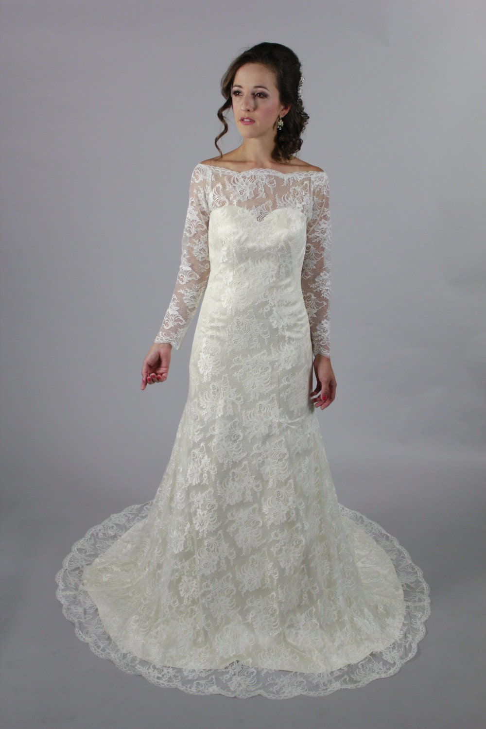 Wedding Gowns A Line Cut : Long sleeves a line lace wedding dress royal classic style