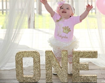 """ONE Glitter Letters - Birthday, Party Decoration - Gold Glitter - 8 or 12"""" Height - Priced for 3 letter bundle!"""