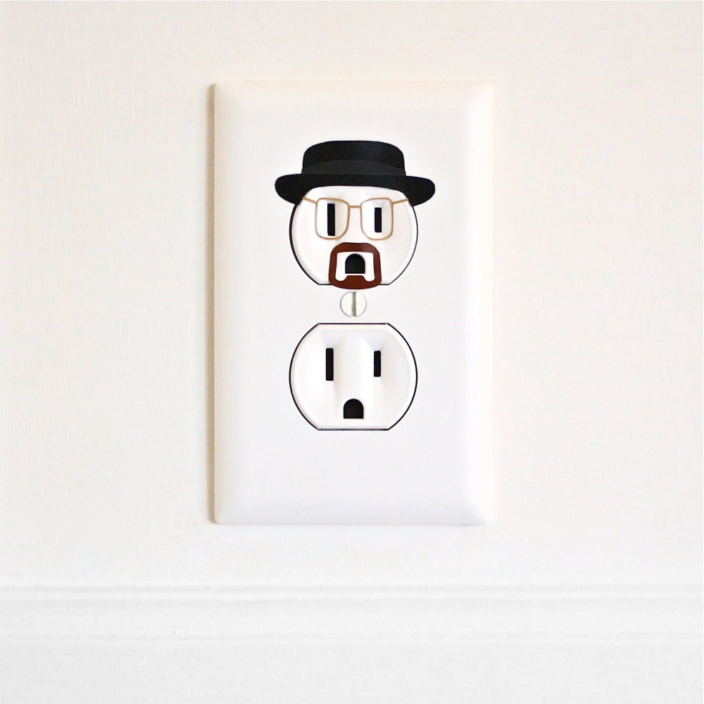 Heisenberg breaking bad electric outlet wall art sticker zoom amipublicfo Choice Image