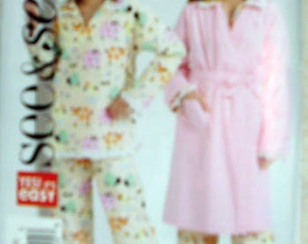 Girls Teen Bathrobe, Size 12-14-16, PJ's, Pajamas, Housecoat, Girl's See and Sew B4896 Pattern Factory Folded Uncut