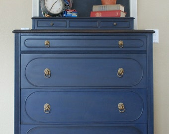 SOLD-SAMPLE ONLY Navy Blue Dresser-Hand Painted Antique Tallboy Dresser
