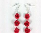 Red Rose Earrings, Dangle Rose Earrings - quilled earrings, paper quilling earrings, quilling roses, quilled rose earrings, dangle earrings
