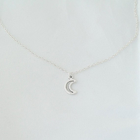 Delicate Necklace, Moon Necklace
