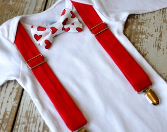 Baby Boy Clothes Valentines Bow Tie Suspenders Boys Valentine's Outfit Red Heart 10 Bowtie Option Coming Home Cake Smash Ring Bearer Wedding