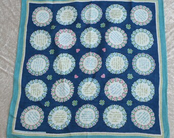 "Sweet 50s vintage Tablecloth ""Visdomsord"" with lovely retro floral pattern. Designed by Marta-Maria Dahlin, Sweden Scandinavian."