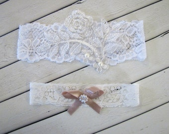 GINA Style- Lace Wedding Garter, Wedding Garter Set, Bridal Garter Set,  Lace Bridal Garter, Wedding Garter, Stretch Garter, Lace garter