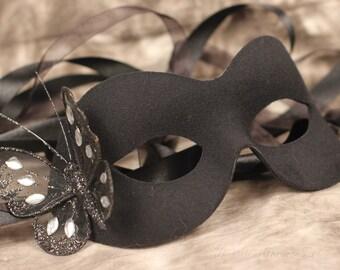 Black Masquerade Ball Mask Black Glitter Butterfly Ribbon Ties