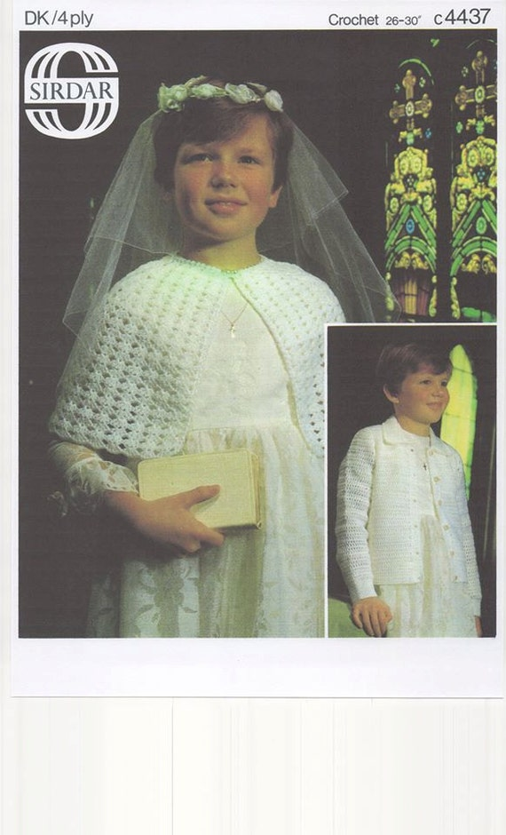 Girls Crochet First Communion Cape and Cardigan Communion