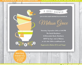 tea baby shower invitation / baby shower tea invitation / baby shower tea party invitation / high tea baby shower invitation / Afternoon tea