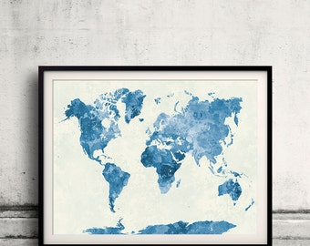 World map in watercolor blue painting abstract splatters - SKU 0407
