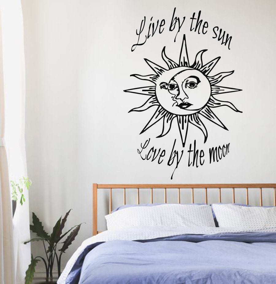 wall decals quotes sun moon crescent dual ethnic stars night - 🔎zoom
