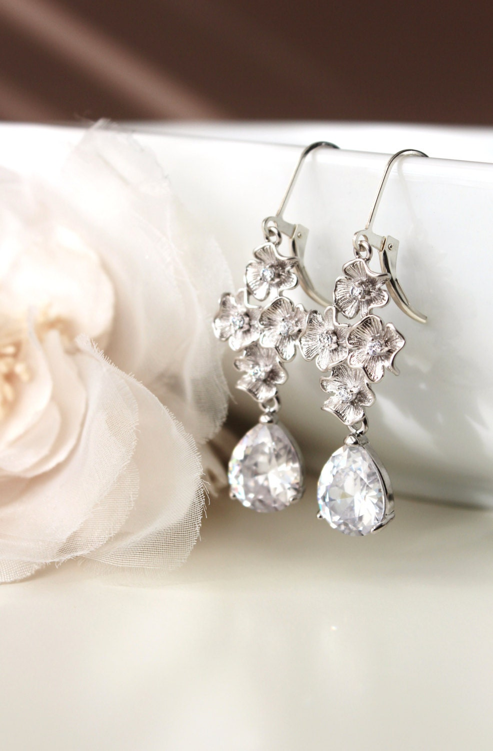 bridal earrings wedding earrings silver drop earrings