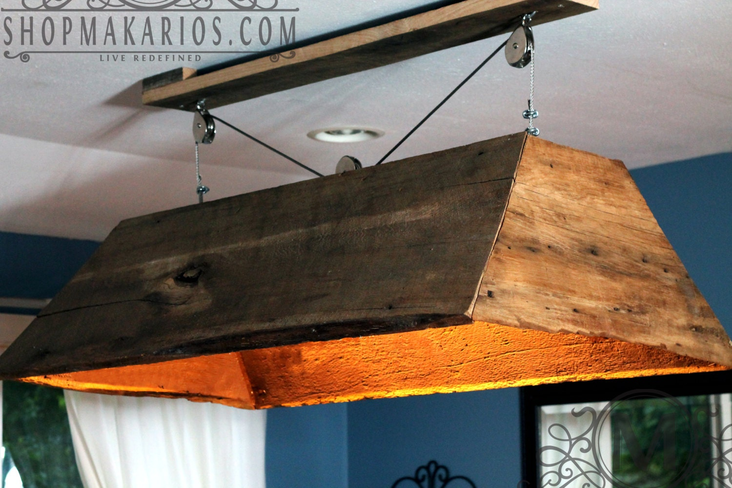Barn Wood Light Hanging Light Table Light Kitchen By MakariosDecor