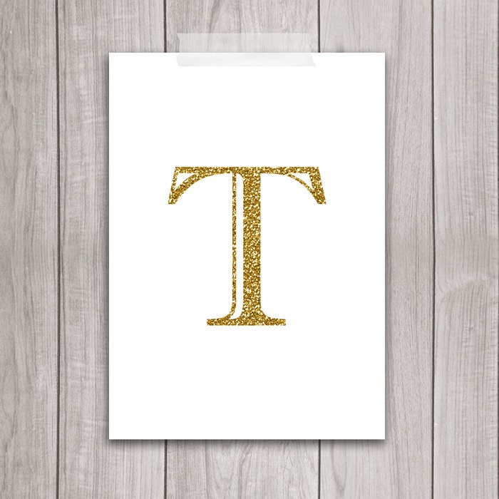 Wall Decor Letter T : Off sale gold letter art t wall