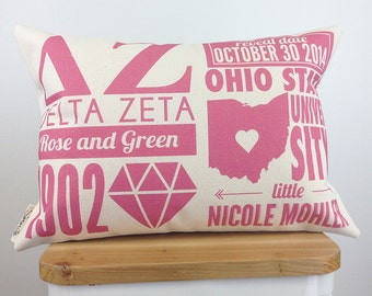 Personalized Delta Zeta Infographic Pillow With Inserts - Sorority Gift - Bid Day Gift