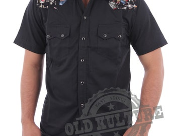 Rockabilly Hawaiian Western Cowboy Snap Button Skull Roses Shirt Psychobilly Rock N Roll