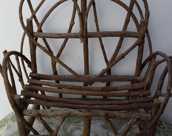 Heart Back Twig Bench Vintage Hand Crafted rustic miniature furniture