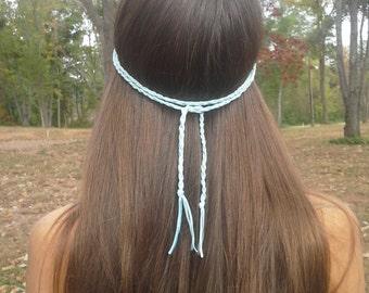 Boho Headband, Braided headband, bohemian headband, Hippie headband, Suede headband, Blue headband, Gypsy Headband, Forehead Headband