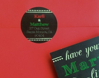 Address Labels/Envelope Seals for Marry/Married Little Christmas Save the Dates • chalkboard background • red, green, white chalk text