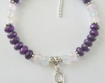 Divine Wisdom 'Goddess of Wisdom' Amethyst,Rose Quartz and Opal Beaded Bracelet