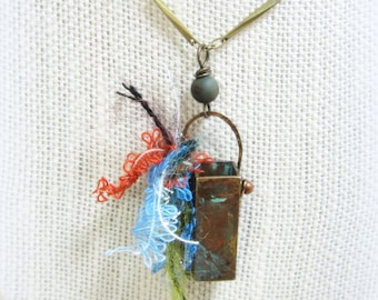 Brass box talisman handmade jewelry-hand formed box + bail with fiber, verdigris  ..a gift of laughter TAGT