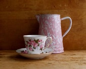 Vintage Tea Cup and Saucer - Pink Roses - English Queen Anne Bone China - Kitchenalia and Cottage Decor