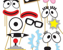 Yo Gabba Gabba! Inspired Printable Photo Booth Props - Muno, Foofa, Brobee, Toodee, Plex and DJ Lance Rock - DIY, Digital | Instant Download
