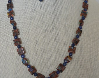Abstract glass bead necklace and earrings!