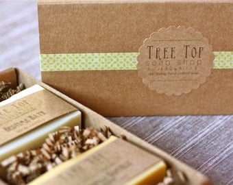 Two Soap Gift Set, 4 to 5 oz Handmade Soaps, Cold Process, Vegan, You Pick any 2 Soap Shop Listings/packaged in Kraft Gift Box!