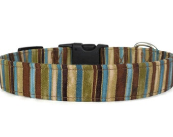 Urban Stripes Adjustable Dog Collar in Green, Blue, and Brown (Buckle or Martingale)