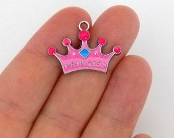 4 Crown Princess Enamel Charms - #E0012