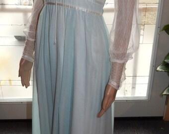 Vtg 70s GUNNE SAX Romantic Renaissance Boho Hippie Corset Gown Dress XS