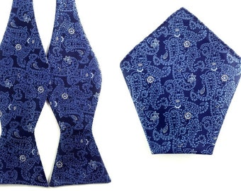 Navy Blue Paisley Pattern Self Tied Bowtie with Pocket Square.Combo Bowtie Pocket Square.Untied Bow Tie Hanky. Wedding Bowtie Pocket Square.
