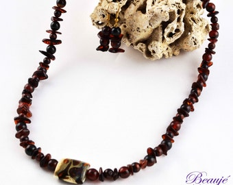 Brown necklace Amber necklace Gemstone jewellery Semi-precious necklace Lampwork Beauje Handcrafted Unique Designer Vermeil Glass jewellery