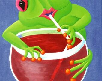 "11x14 Original Canvas Frog Painting...""Ladies Night"""