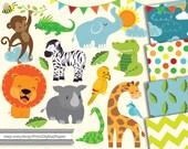 Instant Download Digital clip art animals jungle nursery cute baby animal lion monkey giraffe rhino elephant papers scrapbook party