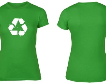 Recycle Recycling Womens Cotton T-Shirt Retro Geek Nerd Save the Earth NEW