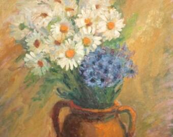 Vintage Bulgarian daisy flowers still life oil painting
