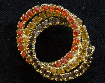 Vintage Tri-color Interlocking Rhinestone Rings Brooch