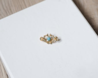 Vintage signed ART brooch, petite gold tone & turquoise pin, signed jewerly