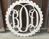 Wooden Monogram in Scallop Border - Ready To Paint
